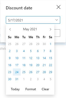 Pick a date in the drop-down calendar.