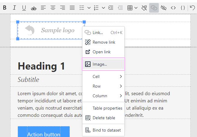 Sample image contextual menu.