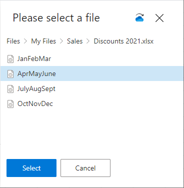 Select Excel table.