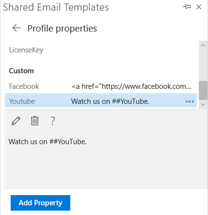 Shortcuts in properties.