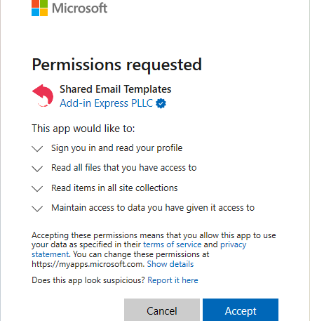 Requested permissions.