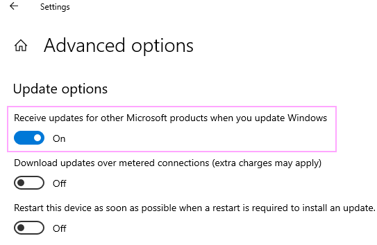 Receive updates for other Microsoft products.