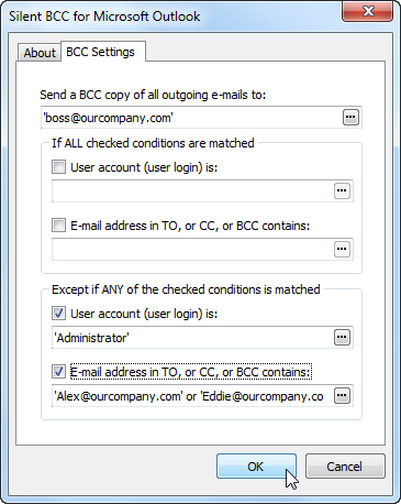Silent BCC for Outlook settings.