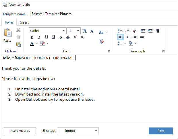 How to use templates in outlook 2016 2013 2007 template phrases enter the template name maxwellsz
