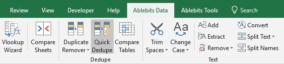Find the Quick Dedupe icon on Ablebits Data tab.