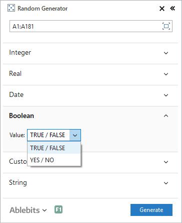 Create random Booleans in Excel.