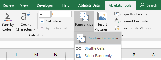 Run Random Generator in Excel.
