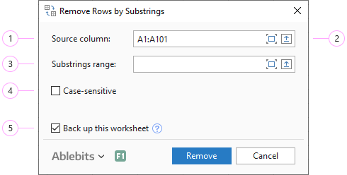 Adjust the Remove Rows by Substrings settings.