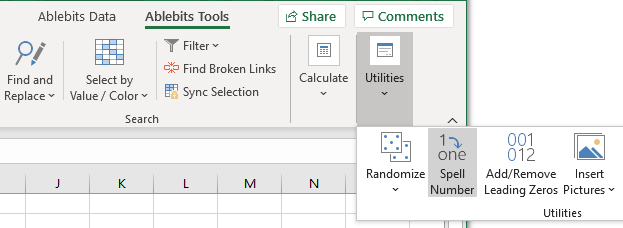 Spell Number in Excel ribbon.