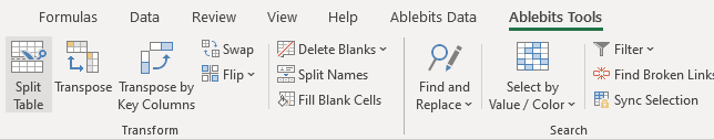 Run Split Table in Excel.