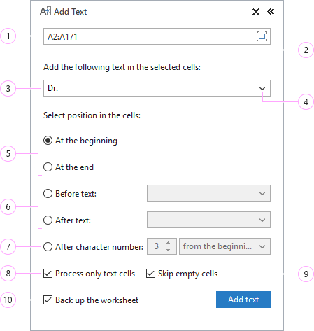 How to add text in Excel.