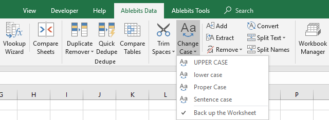 Change case directly from the Excel ribbon.