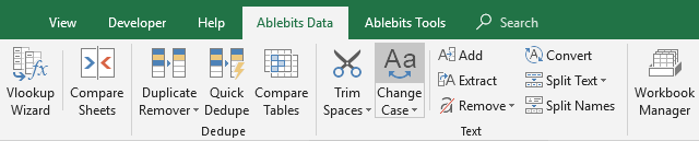 The Change Case tool on Excel's ribbon.
