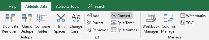 Convert text in Excel.