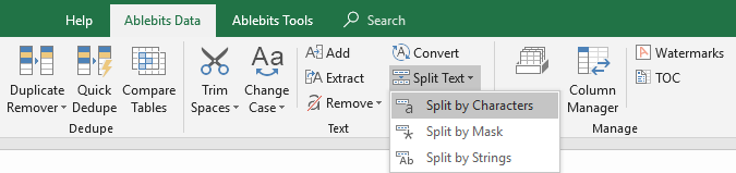 Split Excel cells by chars.