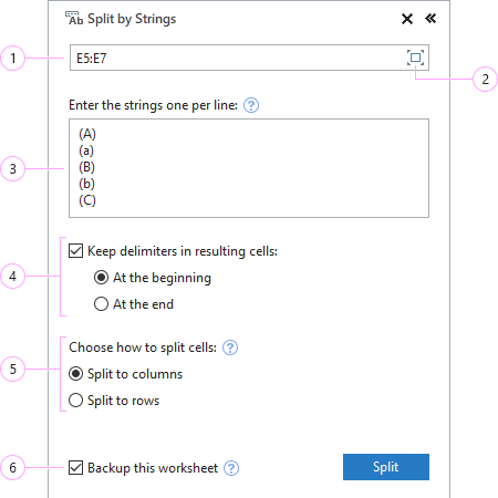 How to split by Excel string.