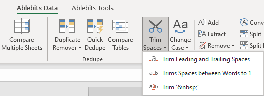 Trim spaces directly from the Excel ribbon.