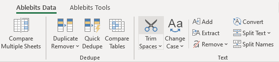 Remove spaces in Excel.