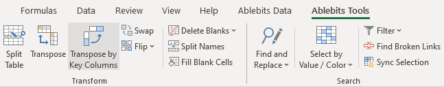 Start Transpose by Key Columns for Excel.
