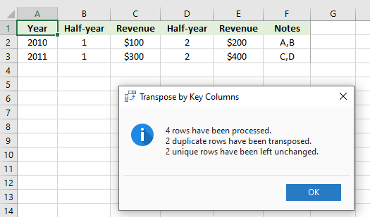 Transpose by Key Columns for Excel