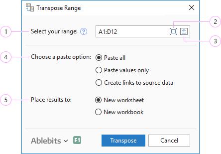 Transpose Excel range.