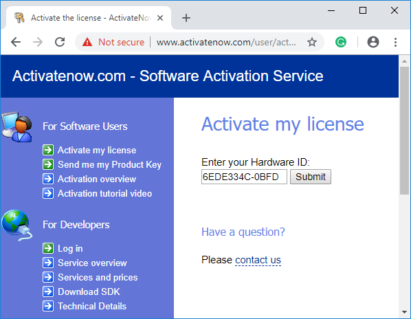 Enter your Hardware ID.