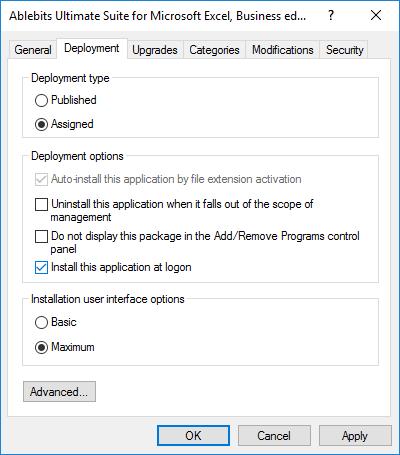 Check the Install this application at logon box.