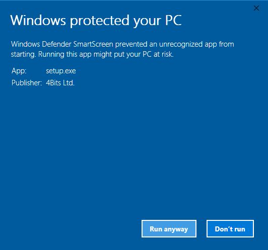 Windows protected your PC-run anyway