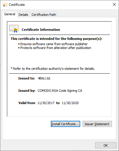 Certificate Information.