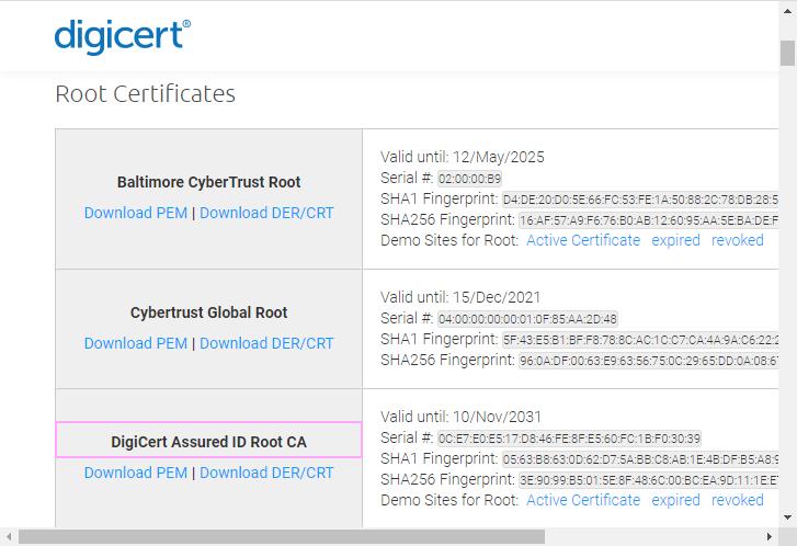 DigiCert Assured ID Root CA.