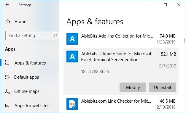 Uninstall in Windows 10.