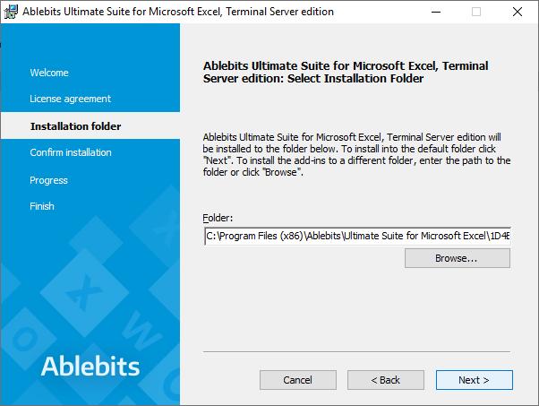 Select the installation folder.