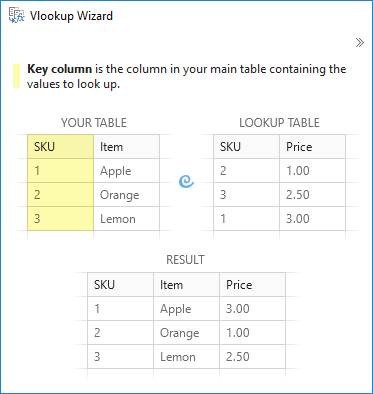 Select the key column to vlookup in Excel.