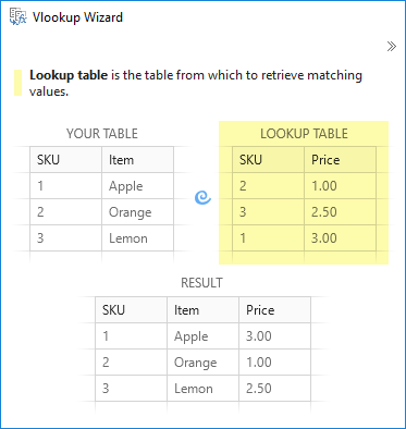 Choose the table to lookup in Excel.