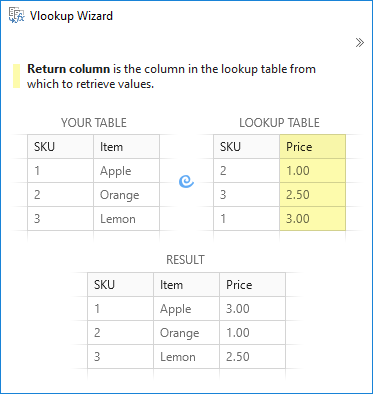 Choose the return column to vlookup in Excel.