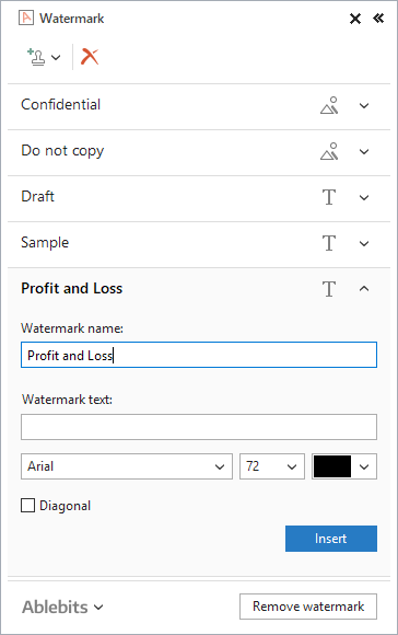 Insert the name and fine-tune the options of the new watermark.