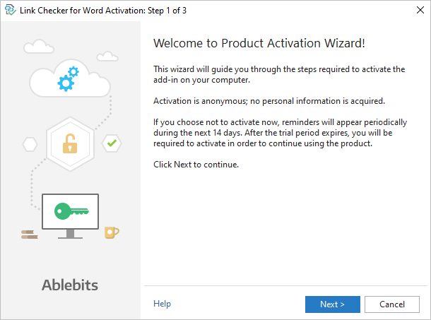 Step 1 of the Link Checker activation process