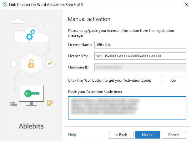 The Link Checker manual activation: pasting the activation code