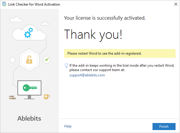 The Link Checker automatic activation process is complete.