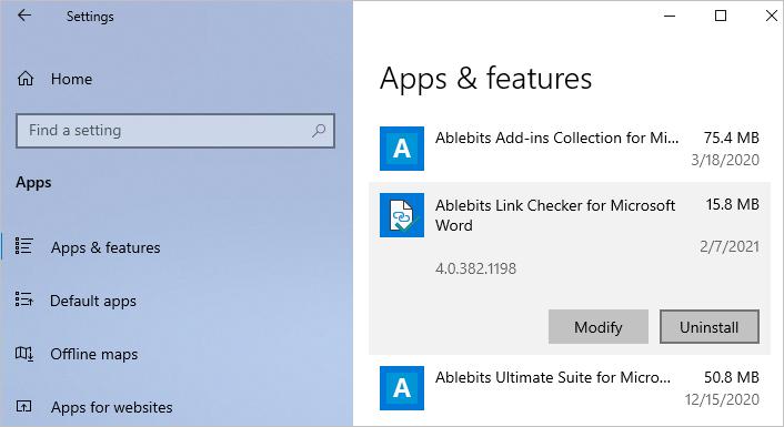 Uninstalling Link Checker in Windows 10