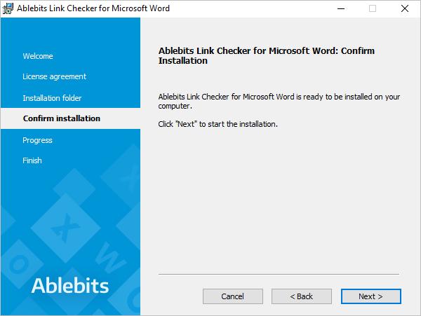 Confirm the Link Checker installation.