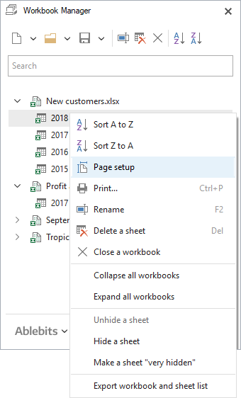 Select Page setup to customize page layout before printing.