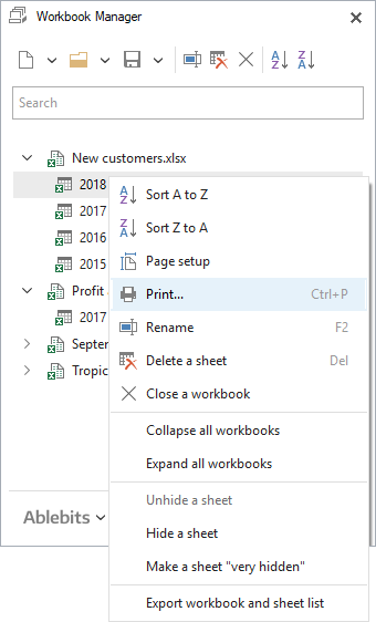 Choose this option to print your worksheet.