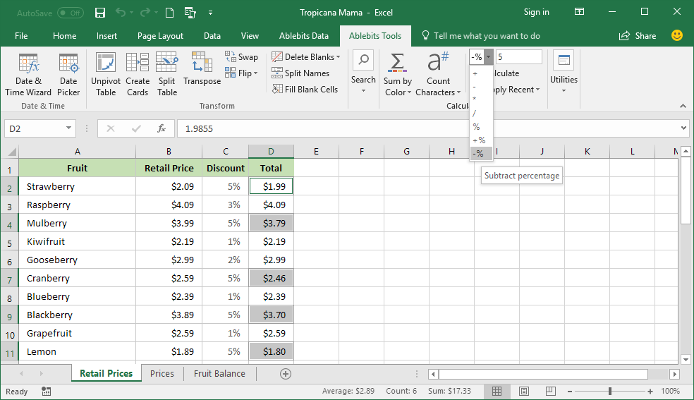 How to subtract percentage from a number in Excel