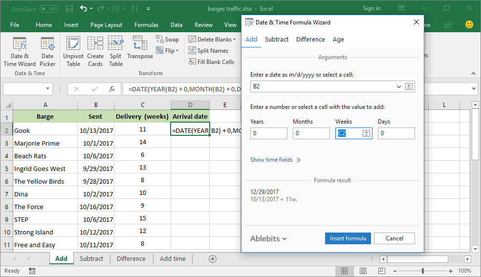 how to add weeks to a date in excel