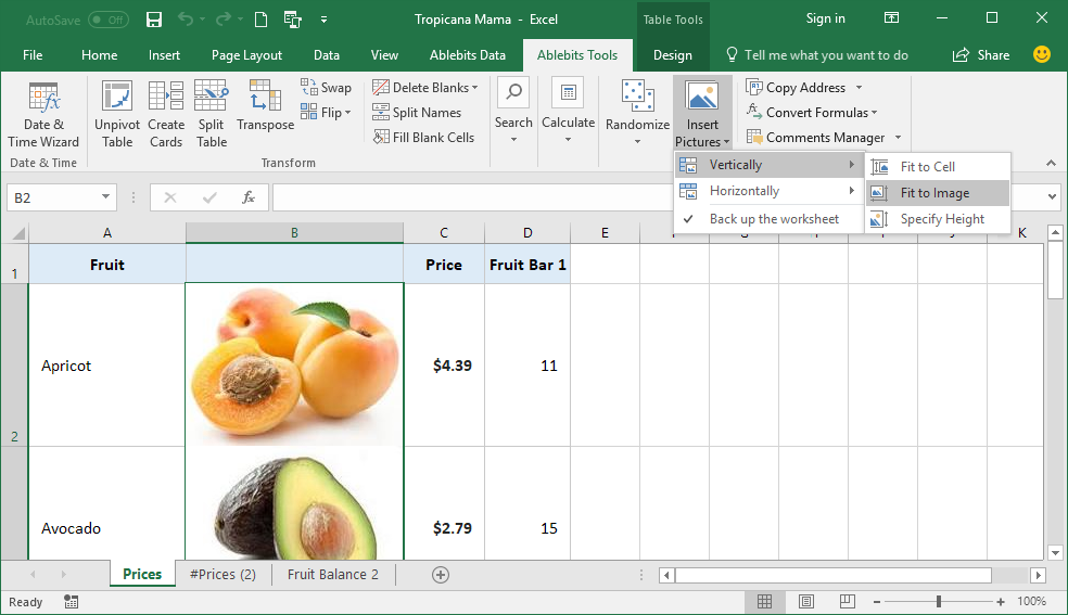 …or have Excel resize every cell to properly accommodate the pictures