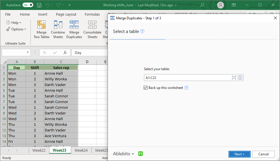 Combine duplicate rows in Excel into one