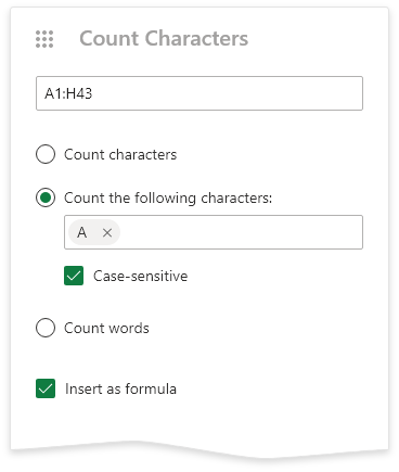 Count characters