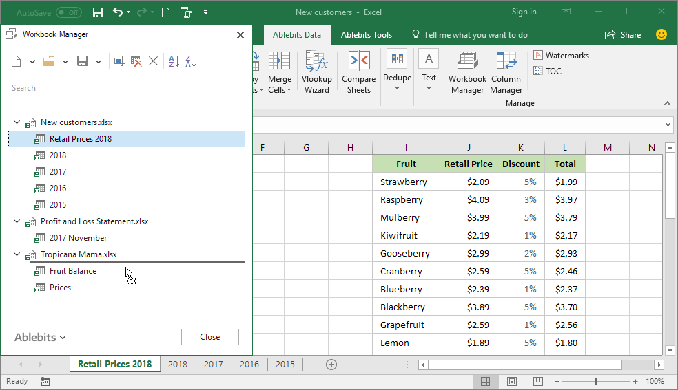 Move a worksheet to another Excel file by dragging it on the pane