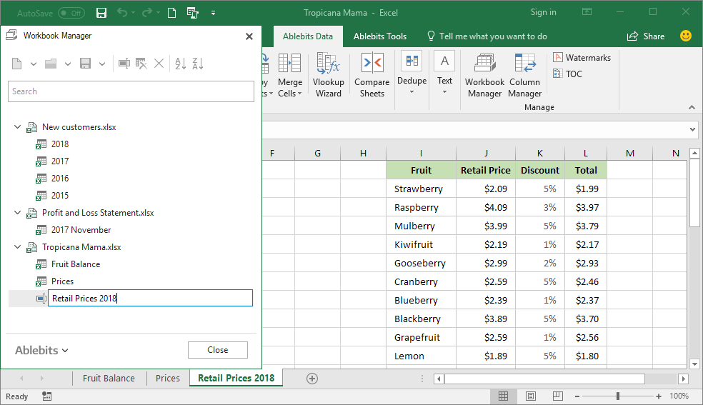 Rename any Excel worksheet easily